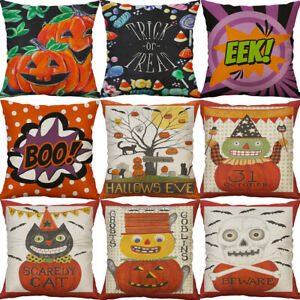 Halloween Pumpkin Covers Cotton Linen Sofa Throw Pillow Case Cushion Home Decor