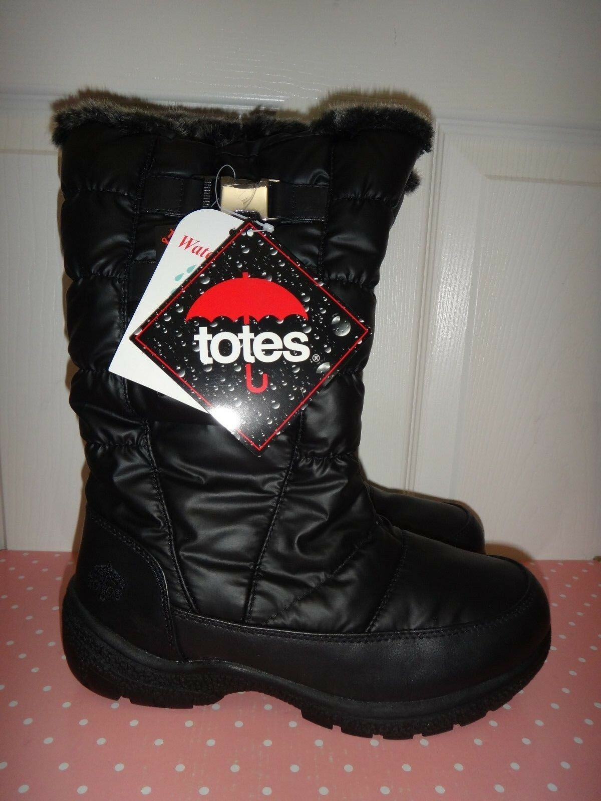 TOTES Womens WATERPROOF Zip Winter BOOTS Black Polyester Faux Fur Sz 6,7,7.5,8.5