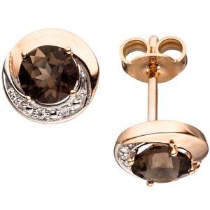 Ohrstecker-mit-4-Diamanten-Brillanten-amp-Rauchquarz-braun-rund-585-Gold-Rotgold