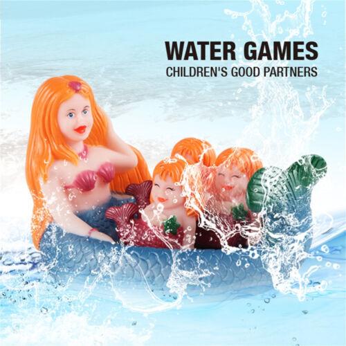 Shrilling Rubber Cute Sea Mermaid Family Bathtub Pals Floating Bath Tub Toy E