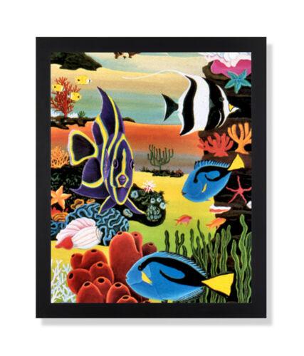 Fine Art Prints Tropical Ocean Fish Coral Reef Bathroom Wall Picture Black Framed Art Print Art Ohioeyecareconsultants Com