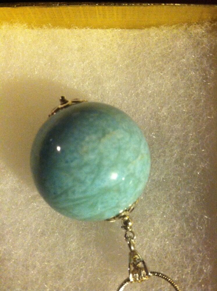 Larimar Pendant Round Ball with chain Beautiful Rare One Of A Kind