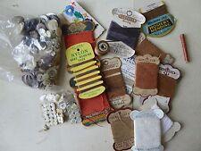 Vintage Antique Haberdashery Buttons & Cotton Thread Needles