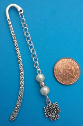 Gift//Present. Tibetan Silver Bookmark with JESUS LOVES YOU CHARM /& White Beads