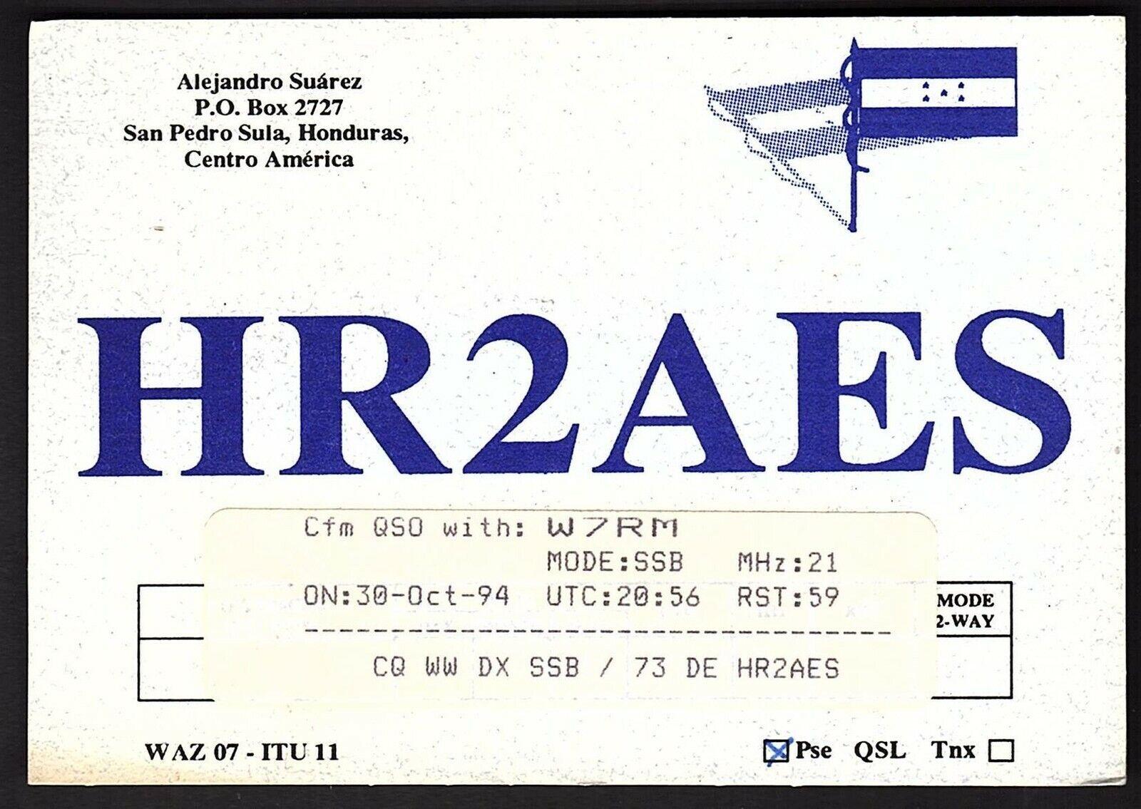 QSL QSO RADIO CARD HR2AES/Alejandro Suarez, Honduras, Centro America (Q2151)