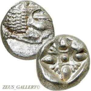 LION-Stellate-Ionia-Miletos-525-BC-Ancient-Greek-Silver-Coin-XF-1-12-Stater