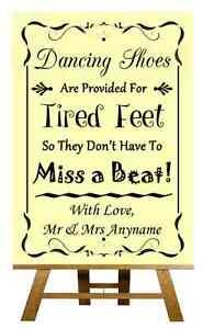 Amarillo Zapatos de baile con los pies cansados Personalizado Boda Cartel / Afiche
