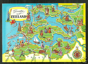 Map postcard Zeeland Netherlands stamp eBay