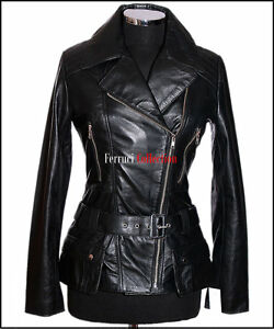 Veste Black Retro Alyssa Womens Real en Ladies cuir Oq1dRX