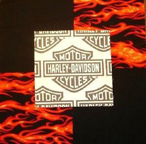 30 6 Harley Davidson Logo Red Flames Black Quilt Fabric Squares Ebay