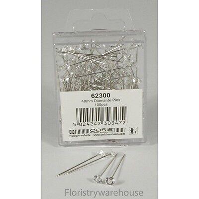 5mm acrylic head diamante diamond pins by Oasis (x100)
