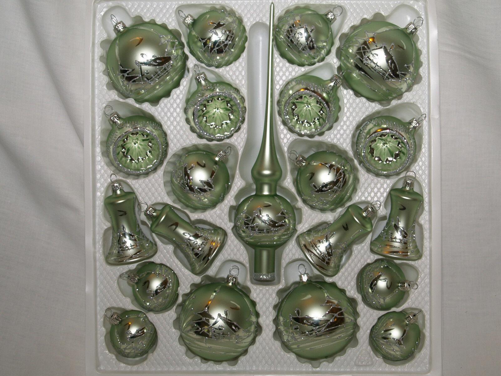 Décorations Assortiment 21 pièces avec dentelle vert citron argent