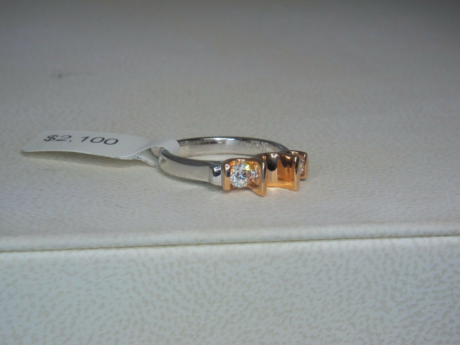 14K WHITE & pink gold SEMI MOUNT .45 CTW G-VS DIAMOND ENGAGEMENT RING