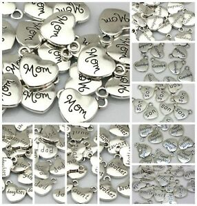 10-Pcs-Quality-Tibetan-Silver-Heart-Pendants-Charms-Dad-Mom-Daughter-Aunt-Sister