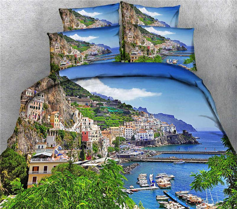 Coastal Cities 3D Printing Duvet Quilt Doona Covers Pillow Case Bedding Sets