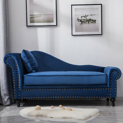 Fantastic Modern Blue Velvet Chaise Longue Sofa Day Bed With Bolster Cushion Living Room Ebay Gmtry Best Dining Table And Chair Ideas Images Gmtryco