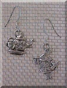 Alice-in-Wonderland-Earrings-Charm-White-Rabbit-Teacup-Tea-Party-Favor-STERLING