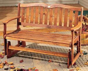 Outdoor Wood Glider Bench 2 Person Patio Porch Deck