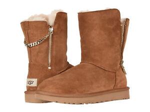 ea213004573 Women UGG Classic Short Sparkle Zip Boot 1094983 Chestnut Suede 100 ...