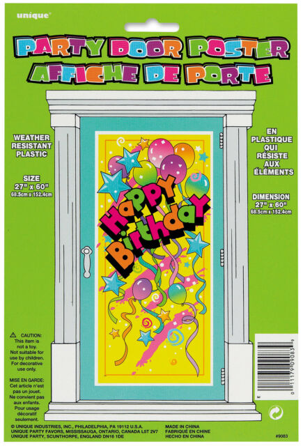 Plastic Happy Birthday Door Poster Party Supplies Kids Decoration Banner Fun
