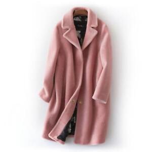 Details zu Frauen lange Jacke Revers klassische echte Farm Shearling Lammfell Damen Mantel