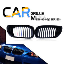 2Pcs Gloss Black M-Color Kidney Grill Grille Fit For BMW E46 LCI 2-Door 2003-06