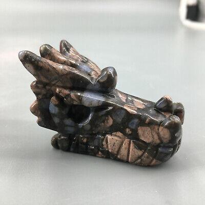 Natural obsidian hand carved dragon skull crystal healing 1pc