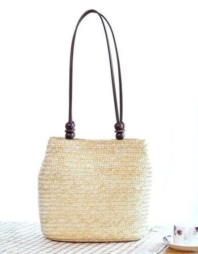 handgefertigt Damen Stroh gewoben Strand Tragetasche Sommer Schultertasche