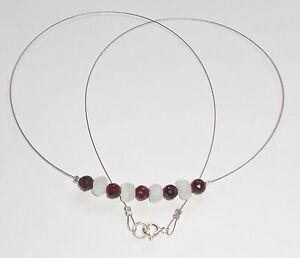 Unikat Edelsteinkette fac.Granat,Regenbogenmondstein,53cm,925er Silber Federring