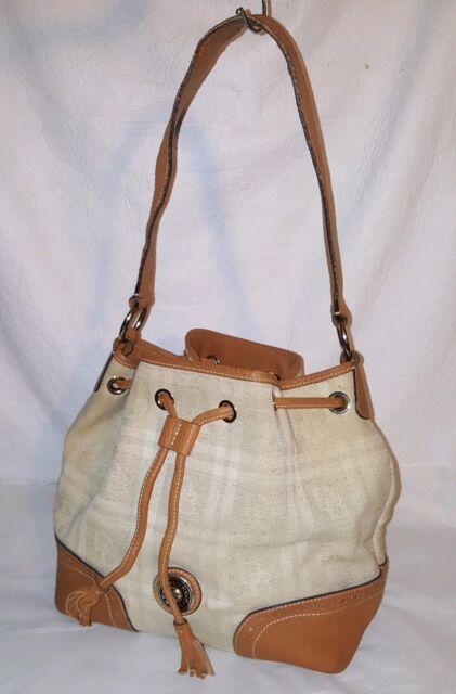 f52070cb2d DOONEY & BOURKE Large Tan and Beige Plaid and Leather Drawstring Shoulder  Bag