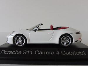 Porsche 911 Carrera 4 Cabriolet 1/43 Herpa 071116 Carrara Blanc Métallisé