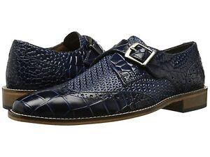 Stacy Adams Men's Giannino Monk Strap Wingtip Slip-On Loafer Dress Black 25084