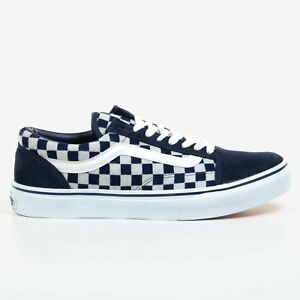 vans old skool blue and white checkerboard