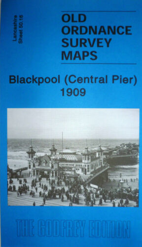 Old Ordnance Survey Map Blackpool Central Pier Lancashire 1909 Godfrey Edt Offer