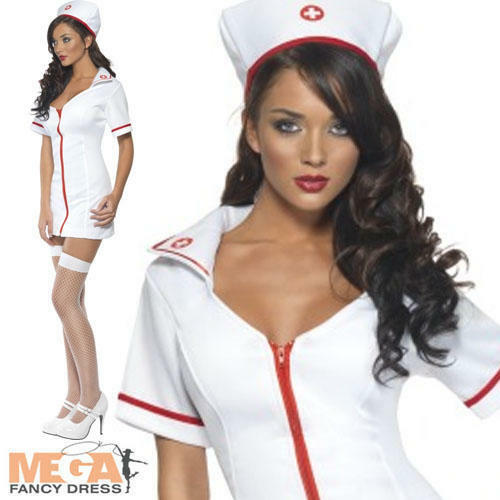 Halloween Zombie Nurse Costume Ladies Womens Scrubs Fancy Dress Adult XS-L