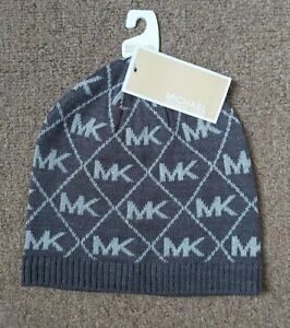 Michael-Kors-Mk-Logo-Grey-And-Silver-Metallic-Beanie-Winter-Hat-New