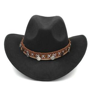 dc7d67507 Details about Women Men Winter Wool Western Cowboy Hat Wide Brim Fedora  Outdoor Cowgirl Cap