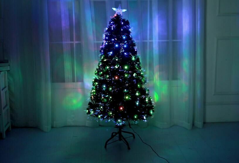 Grün Led & Fibre Optic Christmas Xmas Tree with Lights Pre-Lit Decorated 4-7FT