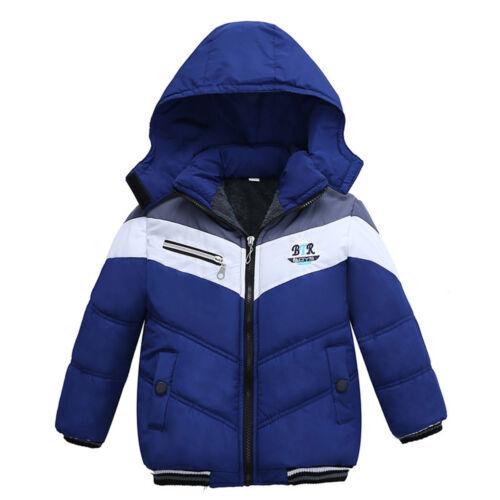 Kid Children Boy Thick Coat Cotton Padded Warm Jacket Hooded Snowsuit Outwear