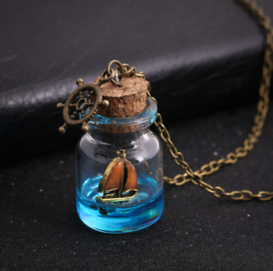 Women Sea Ocean Luminous Boat Anchor Necklace Glass Wish Bottle Pendant Jewelry