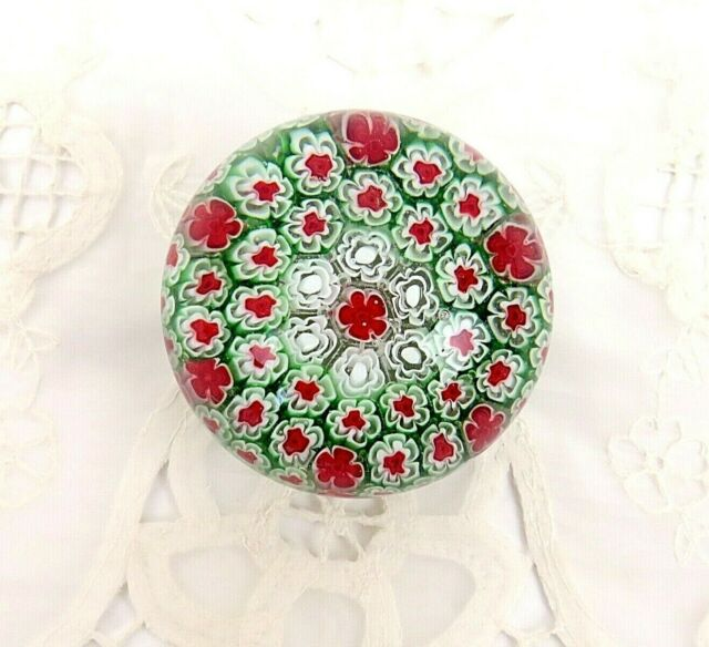 Vintage Murano Millefiori Paperweight Christmas Red White Green Tight Cane 3