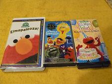3-for-1 SESAME STREET VHS-ELMOPALOOZA! &A MUSICAL CELEBRATION! & ELMO'S BIRTHDAY