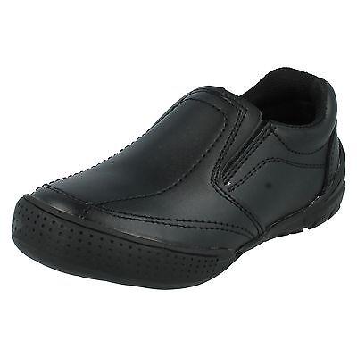 BOYS KIDS JCDEES BLACK LEATHER SLIP ON SMART FORMAL SCHOOL SHOES N1074
