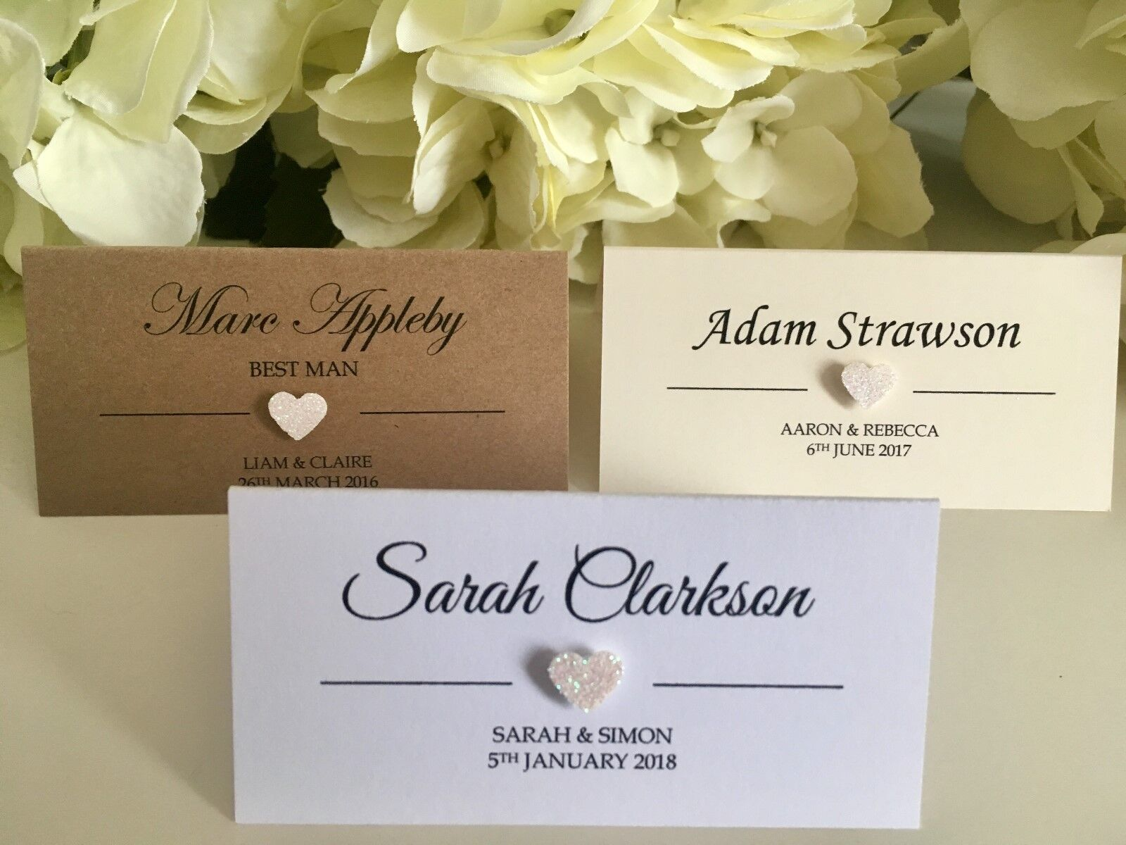 Ivory Off Weiß Glitter Heart personalised Wedding place cards Weiß Ivory Kraft