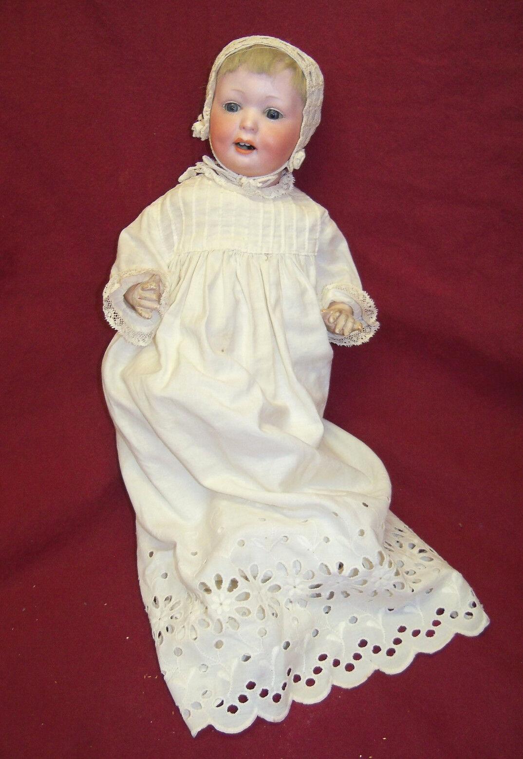 Antiguo a.m. D.R.G.M. Alemania Composición Cuerpo cabeza de Biscuit muñeca bebé de carácter