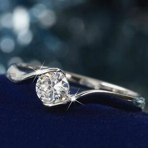 18K-White-Gold-Plated-0-5carat-women-039-s-wedding-Ring-Simulated-Diamond