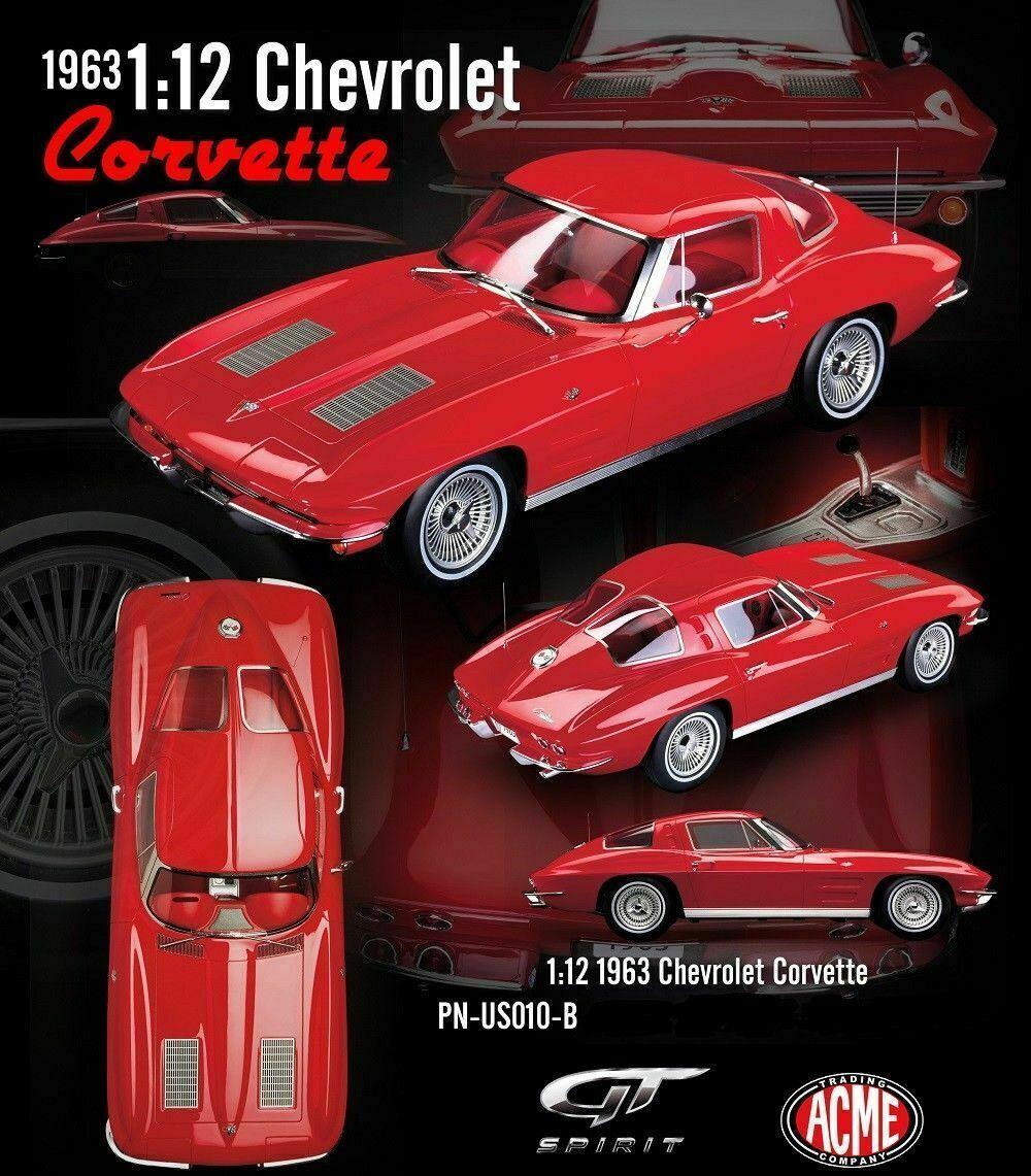 1  12 ACME GMP GMP GMP - 1963 Chevrolet Corvette Riverside rojo neu cb5
