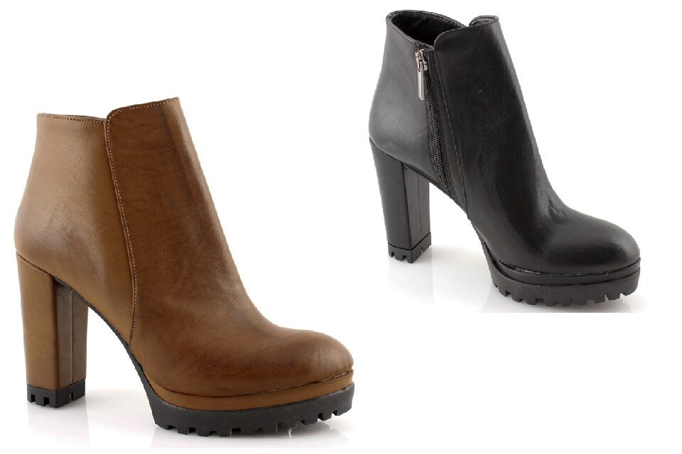 Ankle boots woman black leather Plateau high heel high heels shoes made in ITALY