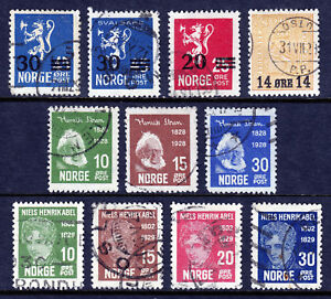 Good Norway — Scott 129//148 — 1927-29 Surcharge & Portrait Issues — Used —scv $36.00 Europe