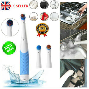 4 in 1 Sonic Scrubber Electric Cleaning Brush House Help Kitchen Bathroom Car UK